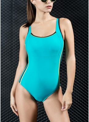 Women Sports One Piece Swimsuit Swimwear Backless Splice Racing Training Bathing Suit_1