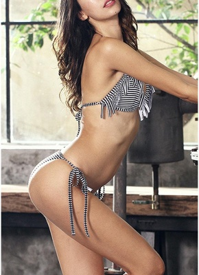 Women Swimwear Striped Halter Bandage Backless Tassel Swimsuit Beach Wear Sexy Bikini Set_4