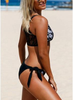 Lace Mesh Solid Self-tie Bottom Sexy Bikini Set_4