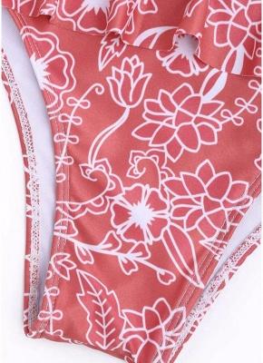 Women Sexy Bikini Set Ruffled Floral Print Bandage  Swimsuit Swimwear_3
