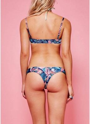 l  Women Sexy Bikini Set Floral Print Bandage High Cut Low Waist Padded Two Piece Swimsuit_2