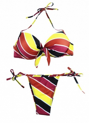 Contrast Stripe Underwire Padded Cup Tie Sexy Bikini Set Swimsuit_20