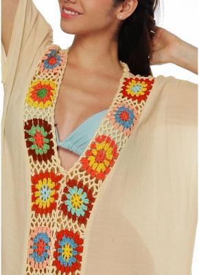 size Crochet Knit Deep V-Neck Short Sleeve Side Split Beach Cover Up_9