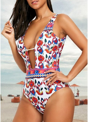 Flower Print Plunge V Neck High Waist Backless One Piece Swimsuit_3