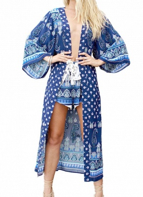 l Print Chiffon Open Front Three Quarter Sleeve Long Kimono_1