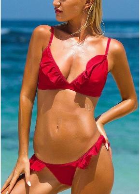 Frilly Ruffles Self-tie Backless Low Waist Sexy Bikini Set_2