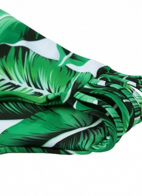 Tropical Leaf Print Bandage Padded Sexy Bikini_8