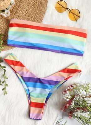 Women Summer Rainbow Striped Sexy Bikini Set  Swimwear Beachwear Biquini Set_1
