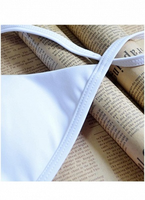 Women Strappy Sexy Bikini Set Deep V-Neck Tie Back Low Waist Swimwear Swimsuit Beach Bathing Suit White_6
