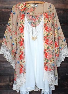 Vintage Floral Print Lace Hem Boho Chiffon Kimono_1