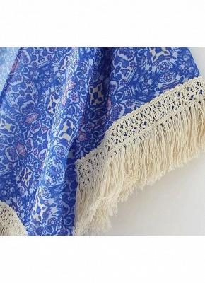 Vintage Retro Print Tassel Fringe Sheer Chiffon Blue Kimono_8