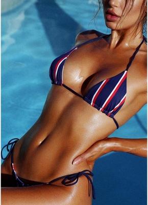 Halter Push Up Striped Tie Waist Padded Women Sexy Bikini Set_3