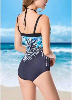 Plus Size Print Halter Backless Sleeveless Strappy One Piece Swimsuit_6