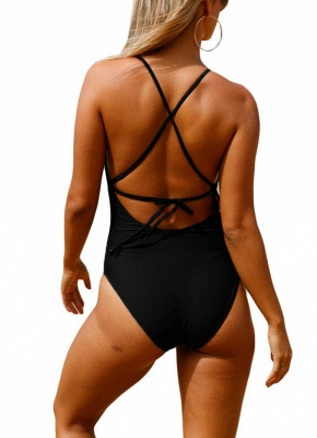 Women Halter One Piece Swimsuit Lace Up Backless Sexy Bikini  Beach Swimwear_7