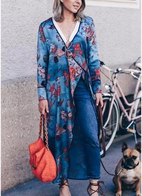 Vintage Women Kimono Floral Bird Print V Neck Tied Ethnic Oriental Outerwear_7