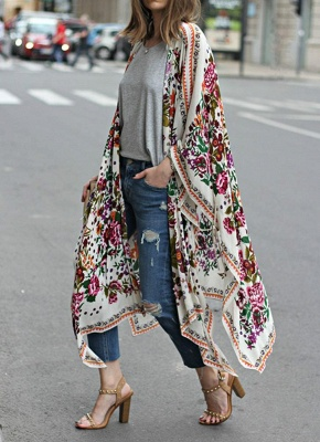 size Chiffon Floral Print Asymmetric Loose Long Kimono_3