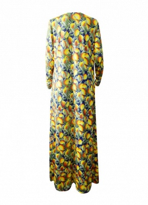 Women Sexy Bikini Set Cover-Up Floral Print  Halter Bandage Padding  Beach Wear Three Piece Yellow_4
