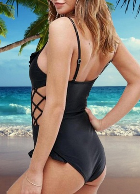 Ruffles Bandage Hollow Out Monokini One-piece_4