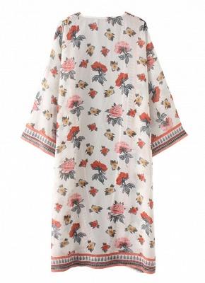 Women Chiffon Kimono Cardigan Sexy Bikini Cover Ups Flower Print Boho Long Beachwear_6