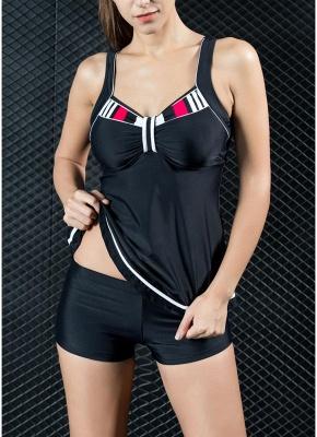 Women Two Piece Swimsuit Tankini Set Contrast Color Vest Bottom Swimwear_1