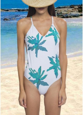Leaf Print Bandage Backless One Piece Swimsuit_1