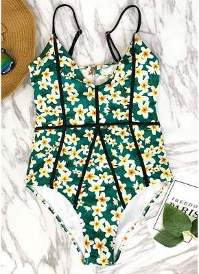 Women One-Piece Swimsuit Floral Print Cut Out Back  Playsuit Jumpsuit Rompers_6