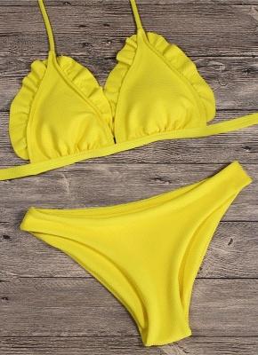 Women Sexy Bikini Set Push Up  Swimsuit Ruffle Low Waisted Padded Two Piece Swimwear Beach Wear_4