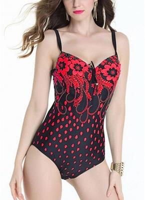 Plus Size Floral Print Hollow Out Shoulder Strap One Piece Swimsuit_1