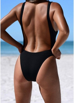 Women Ribbed Knotted Backless Monokini One Piece Swimsuit Deep V Neck High Cut  Beachwear_5