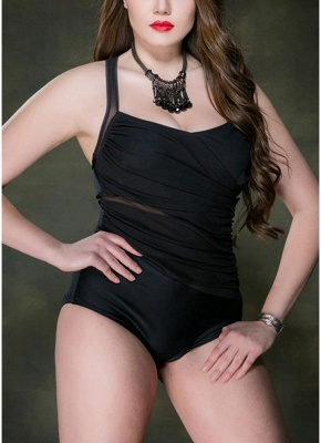 Plus Size Ruched Mesh Front Cross Back One Piece Swimsuit_5