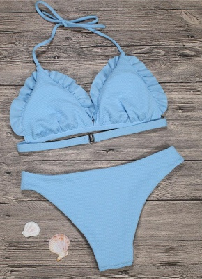 Women Sexy Bikini Set Push Up  Swimsuit Ruffle Low Waisted Padded Two Piece Swimwear Beach Wear_5