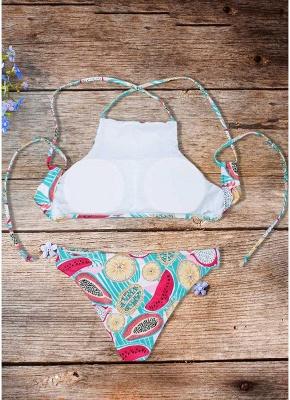 Women Fruit Printed Sexy Bikini Set Halter Swimsuit Padded Two Piece Swimwear fr_3