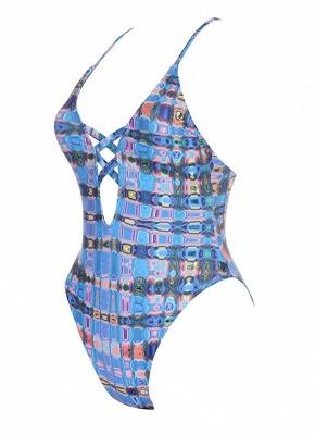 Backless Plaid Swimwear Criss Cross Bandage Bathing Suit_3