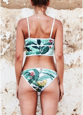 Women Sexy Bikini Set Leaves Print Patches Zipper Top Bottom Beach  Swimsuit_5