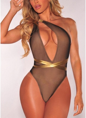 Plunge V Contrast Straps Bandage Open Back  One Piece Swimsuit_3