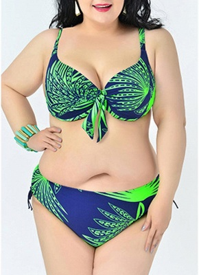 2xl Large Size Leaves Print Push Up Sexy Bikini Set_1