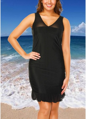 Plus Size Mesh Dress Bottom Tankini Set_1