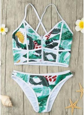 Women Sexy Bikini Set Leaves Print Patches Zipper Top Bottom Beach  Swimsuit_6