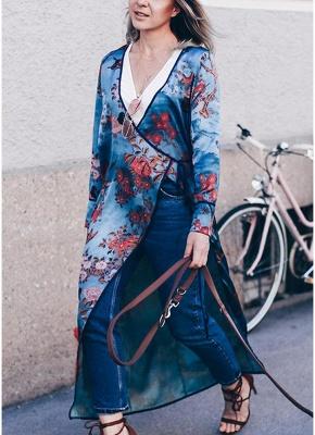 Vintage Women Kimono Floral Bird Print V Neck Tied Ethnic Oriental Outerwear_2