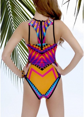 Geometric Print Cutout Backless Strappy Hollow Out one Piece Swimsuit_4