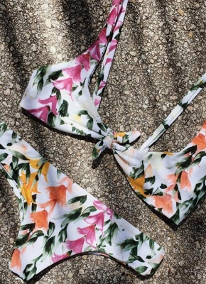 Women Front Tie Push Up Flower Printed Beach Sexy Bikini Set_2