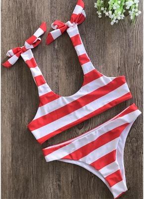 Striped Print Bow Top Bottom Sexy Bikini Set_1
