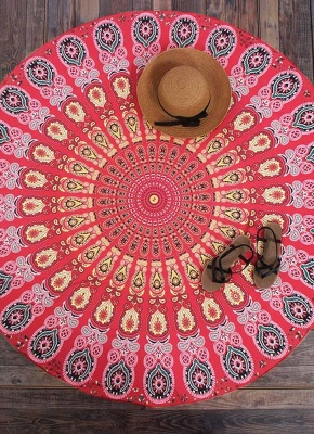 Round Beach Towel Bohemian Printed Tapestry Throw_3