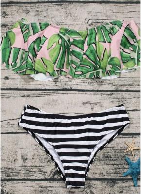 Off the Shoulder Ruffles Striped Leaf Print Bathing Sexy Bikini Set_4