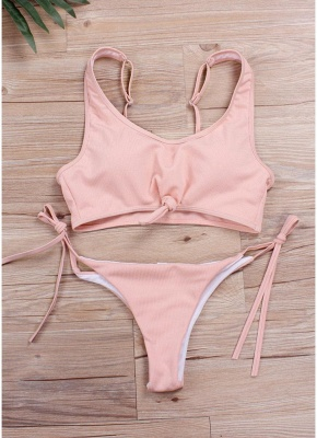 Ribbed Knotted Front Tied Waist Padded Sexy Bikini Set_9