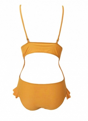 Women Ruffle One Piece Swimsuit Cutout Backless Adjuastable Strap Padding_4