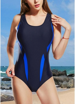 Women One-Piece  Color Splice Sleeveless Padding Wireless Swimwear Swimsuits_3