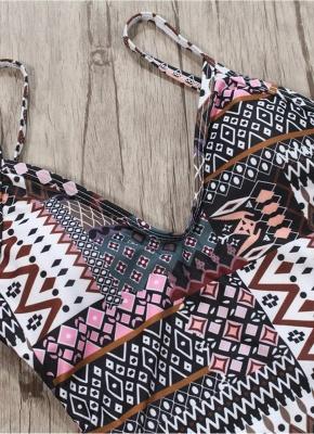 Women Spaghetti Strap One-Piece Swimsuit Totems Print Monokini Push Up Padded Sexy Bikini Swimwear_4