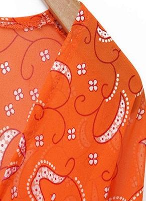 Women Cardigan Open Front Contrast Print Half Sleeve Kimono_5