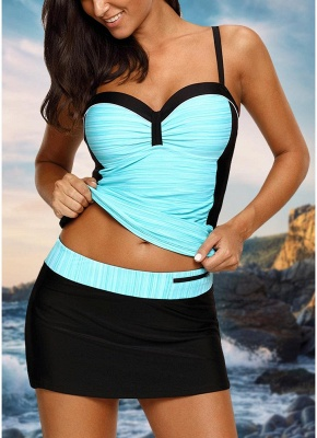 Women Sexy Bikini Set Swimsuit Push Up  Contrast Beach Wear Swimwear Plus Size Tankini Skirt Set_4
